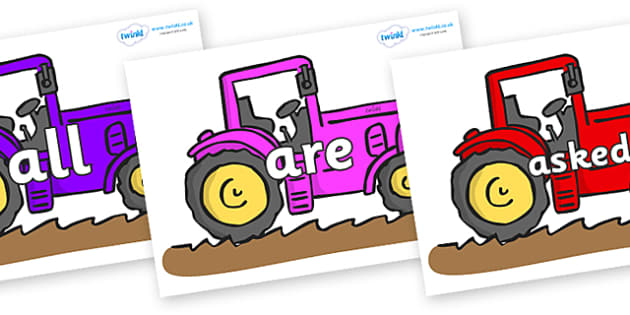 Tricky Words on Tractors - Tricky words, DfES Letters and Sounds, Letters and sounds, display, words
