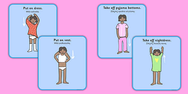 Getting Dressed Cards Girls Polish Translation - polish, getting, dressed, cards, girls