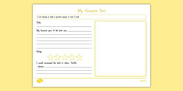 My Favourite Part Review Activity Sheet, worksheet