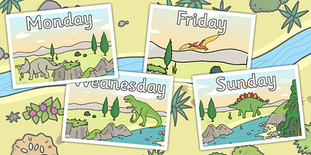 Dinosaur Themed Days of the Week Posters - dinosaurs, calendar