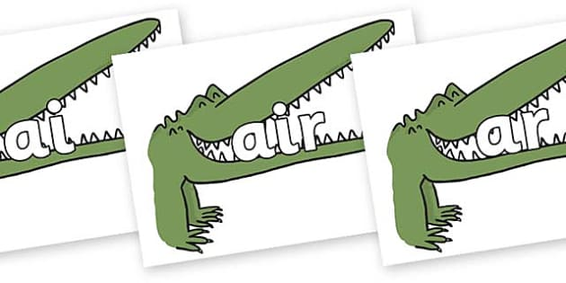 Phase 3 Phonemes on Enormous Crocodile to Support Teaching on The Enormous Crocodile - Phonemes, phoneme, Phase 3, Phase three, Foundation, Literacy, Letters and Sounds, DfES, display