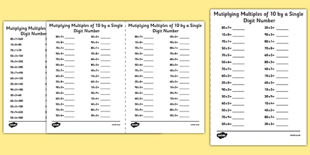 Multiplying Multiples of 10 by 1 Digit Numbers A5 Activity Sheet – Multiplying by Multiples of 10 Worksheet