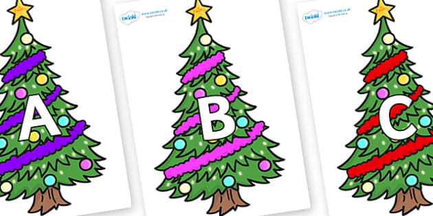 A-Z Alphabet on Christmas Trees (Decorated) - A-Z, A4, display, Alphabet frieze, Display letters, Letter posters, A-Z letters, Alphabet flashcards