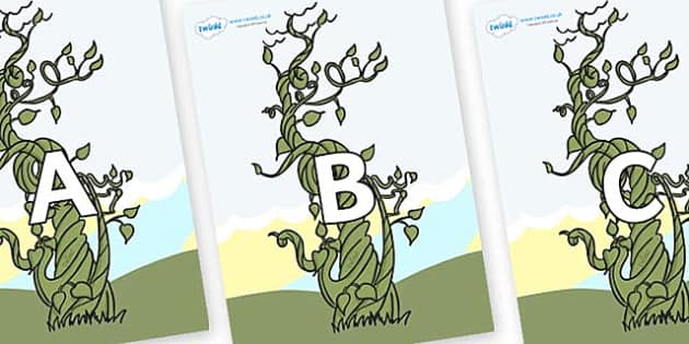 A-Z Alphabet on Beanstalks - A-Z, A4, display, Alphabet frieze, Display letters, Letter posters, A-Z letters, Alphabet flashcards
