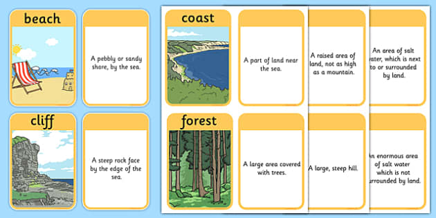 KS1 Geography Keyword Matching Cards with Picture Prompts - ks1, geography, keyword, matching, cards