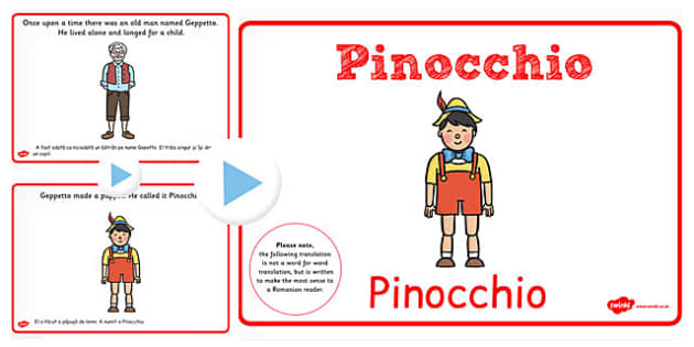 Pinocchio Story PowerPoint EAL Romanian Translation - romanian
