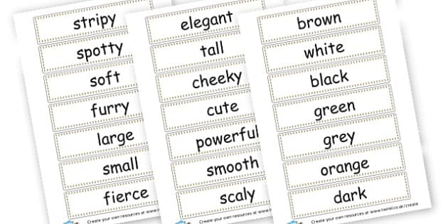Animal Adjectives Cards - Adjectives Primary Resources, cll, wow, keywords, describing words