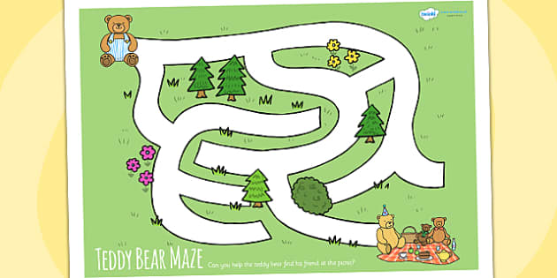 Teddy Bears Picnic Maze Activity Sheet - teddy, bears, game, mazes, animals, worksheet