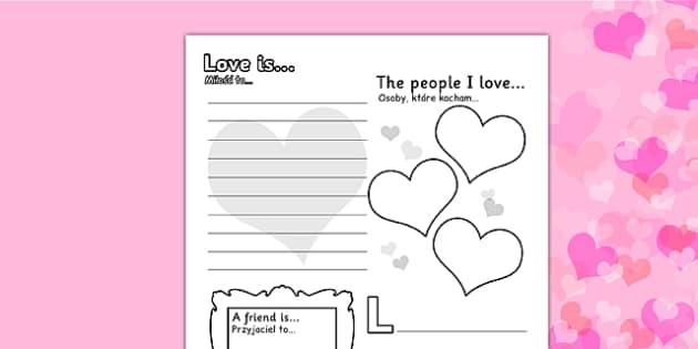 Valentine's Day Worksheet Polish Translation - polish, worksheets, worksheet, work sheet, valentines day, valentines, valentines worksheet, acrostic poem worksheet, people I love worksheet, sheets, activity, writing frame, filling in, writing activit