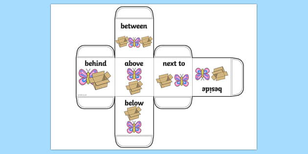 Prepositions Dice Net - die net, position, position dice, visual aid, prepositions