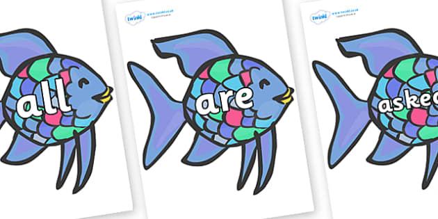 Tricky Words on Rainbow Fish to Support Teaching on The Rainbow Fish - Tricky words, DfES Letters and Sounds, Letters and sounds, display, words