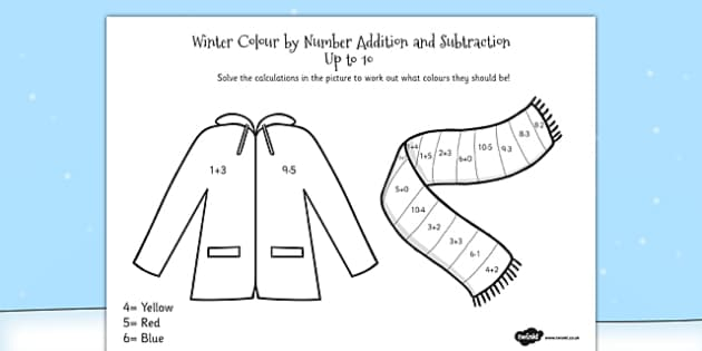 Winter Colour by Number Addition and Subtraction Up to 10 - 10