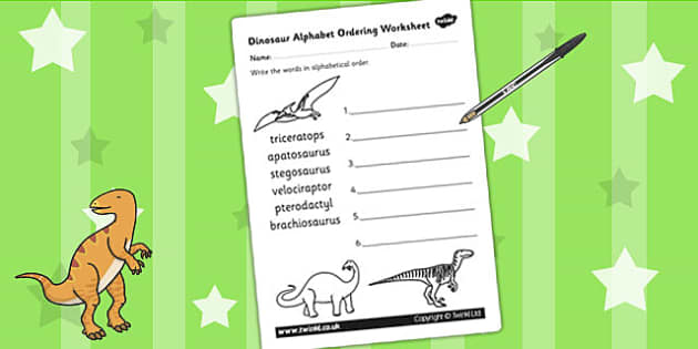 Dinosaur Alphabet Ordering Worksheet - dinosaurs, alphabet, a-z
