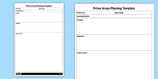 EYFS Prime Areas Planning Template - eyfs, prime, areas, plan
