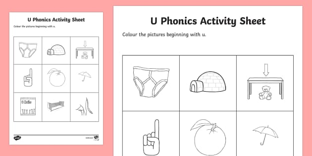 u Phonics Colouring Activity Sheet - Republic of Ireland, Phonics Resources, phonics assessment, sounding out, initial sounds, colouring,