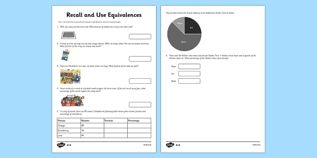 Year 6 Recall and Use Equivalences Activity Sheet - recall, equivalence, activity, sheet, 6, ks2, fractions, percentages, worksheet