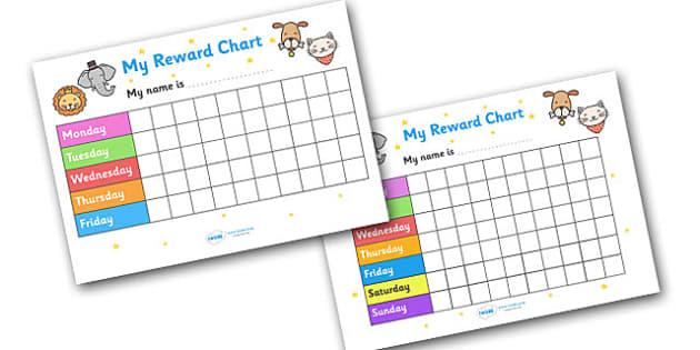 My Reward Chart (Animals) - my reward chart, animals, chart, reward, well done, certificate, award, school, general, animal, animal themed, cat, dog, lion, rabbit