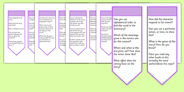 Guided Reading Curriculum Questions Bookmarks Lower KS2 - guided reading, curriculum, questions, bookmarks, lks2, lower ks2