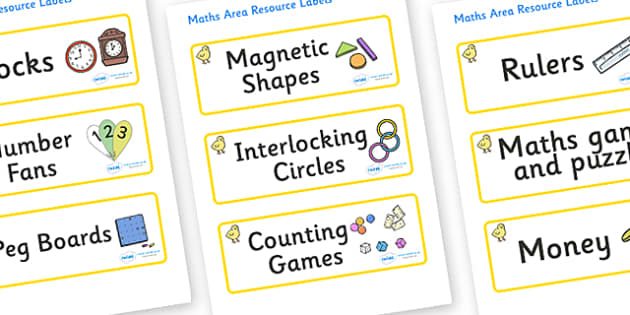 Chicks Themed Editable Maths Area Resource Labels - Themed maths resource labels, maths area resources, Label template, Resource Label, Name Labels, Editable Labels, Drawer Labels, KS1 Labels, Foundation Labels, Foundation Stage Labels, Teaching Labe