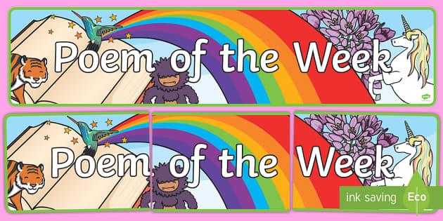 Poem of the Week Display Banner - poem of the week, poetry, display