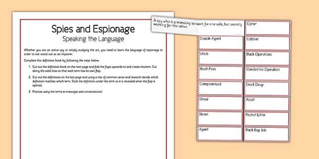 Spies and Espionage Speaking the Language - spies, espionage, speaking, language, home education