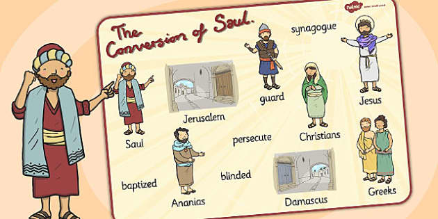 The Conversion of Saul Word Mat - mats, words, literacy, visual