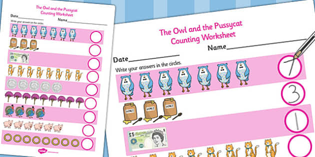 The Owl and the Pussycat Counting Sheet - count, counting aid
