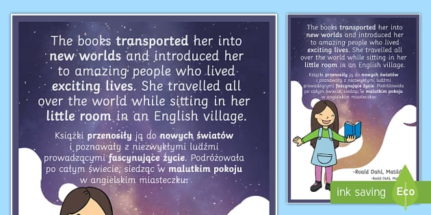 The Books Transported Her Matilda Motivational Poster Polish Translation - polish, motivational, poster, display
