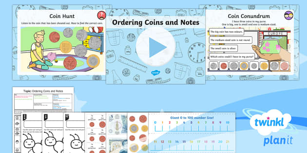 PlanIt Y1 Measurement Coins and Notes (2) Lesson Pack - Measurement, measures, recognise coins and notes, coins, notes, money, denominations, value.