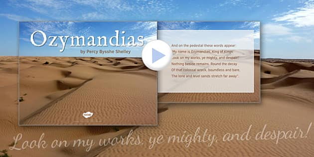 GCSE Poetry PowerPoint to Support Teaching on 'Ozymandias' by Percy Bysshe Shelley