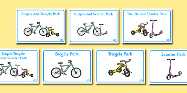 Tricycle Park Sign - tricycle, park, sign, display, bike, scooter, bicycle