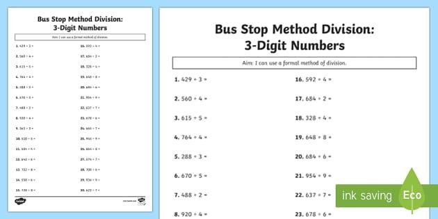 Bus Stop Method Formal Division of 3 Digit Numbers Activity Sheet - bus stop, method, formal division, 3 digit, numbers, worksheet