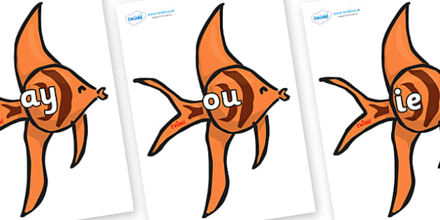 Phase 5 Phonemes on Angel Fish - Phonemes, phoneme, Phase 5, Phase five, Foundation, Literacy, Letters and Sounds, DfES, display