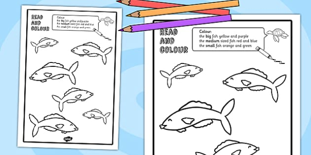 Fish Read and Colour Worksheet - reading, colouring, animals