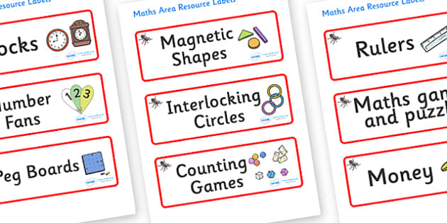 Ant Themed Editable Maths Area Resource Labels - Themed maths resource labels, maths area resources, Label template, Resource Label, Name Labels, Editable Labels, Drawer Labels, KS1 Labels, Foundation Labels, Foundation Stage Labels, Teaching Labels,