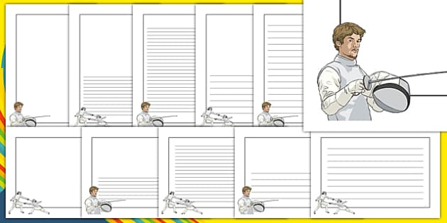 The Olympics Fencing Page Borders - Fencing, Olympics, Olympic Games, sports, Olympic, London, 2012, page border, border, writing template, writing aid, writing, activity, Olympic torch, events, flag, countries, medal, Olympic Rings, mascots, flame,