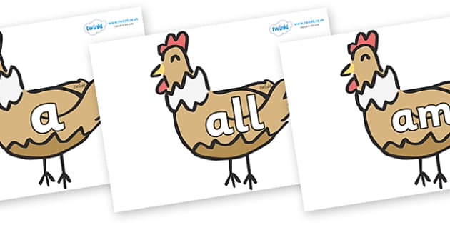 Foundation Stage 2 Keywords on French Hens - FS2, CLL, keywords, Communication language and literacy,  Display, Key words, high frequency words, foundation stage literacy, DfES Letters and Sounds, Letters and Sounds, spelling