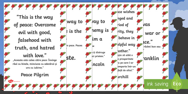 Peace Quotes Display Posters English/Romanian