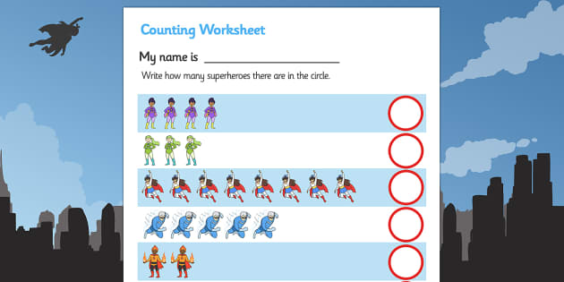 My Counting Worksheet (Superheroes) - Counting worksheet, superhero, counting, activity, how many, foundation numeracy, counting on, counting back, Superhero, superheroes, hero, batman, superman, spiderman, special, power, powers, catwoman, liono, he