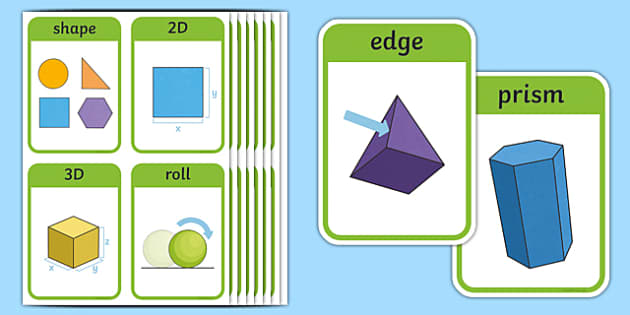 CfE First Level Numeracy and Mathematics Properties of 2D Shapes and 3D Objects Keyword Flashcards-Scottish