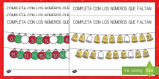 Ficha de completar números -  La Navidad - recta numérica, números, navidad, navideño, navideña,Spanish