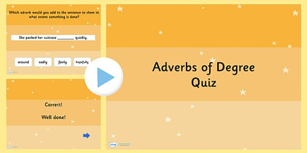 Using Adverbs of Degree SPaG Grammar PowerPoint Quiz - SPaG