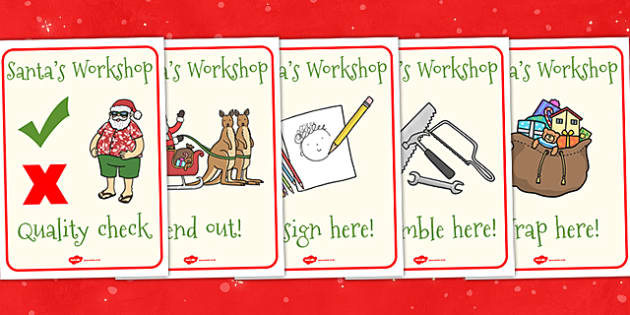 Australia Santas Workshop Roleplay Display Posters - santa, xmas, posters