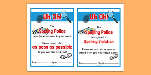 Spelling Police Punishment Ticket - spelling police, spell, police, punishment ticket