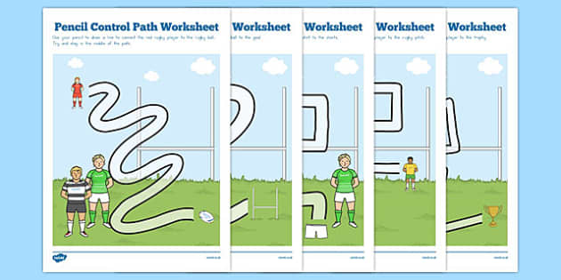 Rugby Pencil Control Path Worksheets - australia, rugby, control