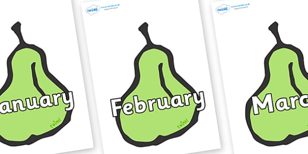 Months of the Year on Pears - Months of the Year, Months poster, Months display, display, poster, frieze, Months, month, January, February, March, April, May, June, July, August, September