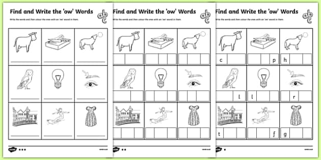 Find and Write the ow Words Differentiated Activity Sheet Pack, worksheet