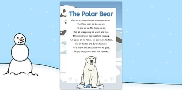The Polar Bear Rhyme - winter, arctic, Antarctic, polar, polar bears, rhyme