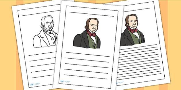 Isambard Kingdom Brunel Writing Frame - isambard kingdom brunel, brunel, writing frame, writing template, writing guide, writing aid, line guide, writing