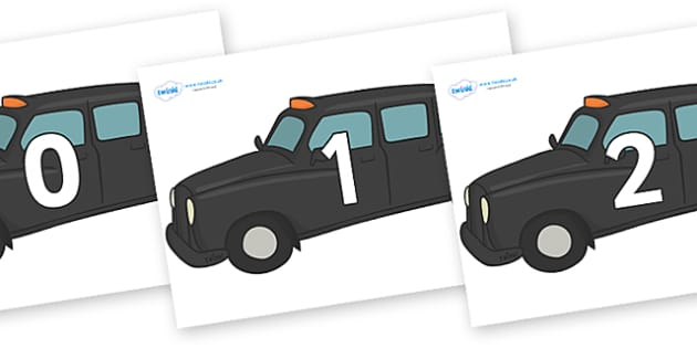 Numbers 0-100 on Taxi Cabs - 0-100, foundation stage numeracy, Number recognition, Number flashcards, counting, number frieze, Display numbers, number posters